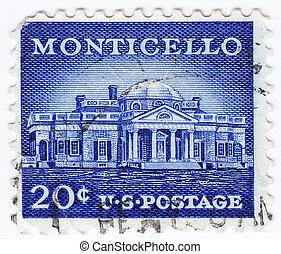 USA - CIRCA 1980: stamp printed in USA shows Monticello, circa 1980