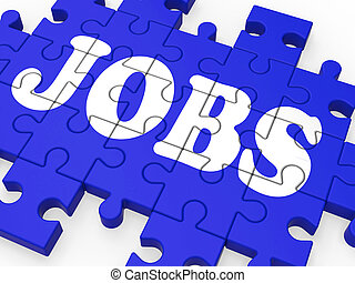 Jobs Puzzle Shows Careers And Employment - Jobs Puzzle Shows...