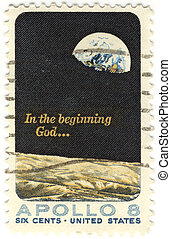 old stamps of USA with the Space theme of Apollo 8