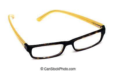 casual eye wear - yellow and black eyes glasses over white