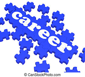 Career Puzzle Showing Job Skills And Recruitment