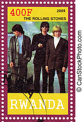 RWANDA - CIRCA 2009 : stamp printed in Rwanda with famous rock group The Rolling Stones, circa 2009