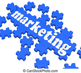 Marketing Puzzle Showing Advertising Sites Or Sales Strategy