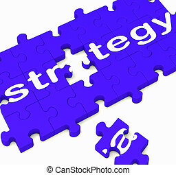 Strategy Sign Showing Business Solutions