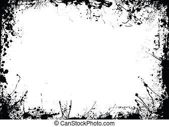 rough border - Abstract black and white ink border with copy...