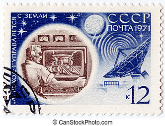 USSR - CIRCA 1971 : stamp printed in the USSR showing explorations of moon, circa 1971