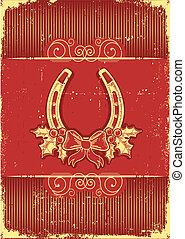 Vintage horseshoe on red christmas background with holly...