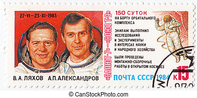 USSR - CIRCA 1984 : stamp printed in the USSR shows Russian...