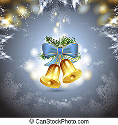 Christmas bells with blue bow