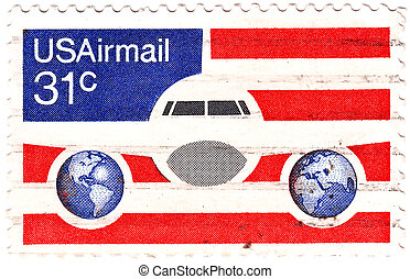 USA - CIRCA 1985: stamp printed in USA shows aeroplane at...