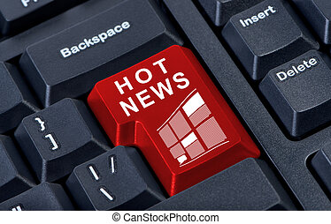 Hot news red button computer keyboard. - Hot news big red...