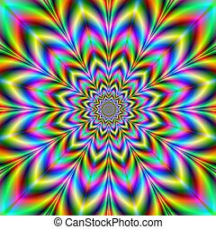Psychedelic Flower - Digital abstract image with a...