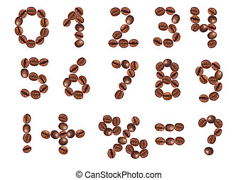 numbers and signs from coffee beans. isolated on white.