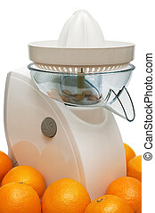 Modern juicer and oranges on a white background