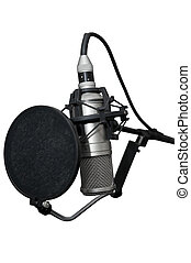 Modern professional microphone on a white background