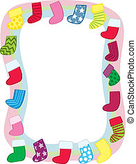 Holiday Stocking Border - A border made up of Christmas...