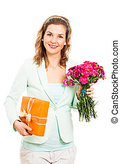 Happy woman with flower and gift - Portrait of young happy...
