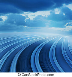 Abstract background illustration - Blue curved abstract...