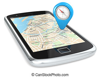 Smartphone GPS, Pointer. - Black Smartphone. GPS map and an...