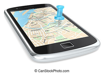 Navigation via Smart phone - Black Smartphone with a GPS map...