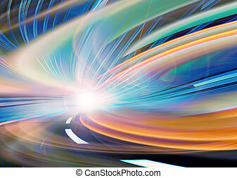 Abstract speed motion in urban highway road tunnel, blurred...