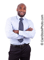 African American business man with folded arms, isolated on...