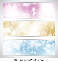 Christmas lights banners - Collection of three Christmas...