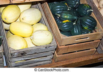 Winter squash stored in crates - Winter squash stored in...