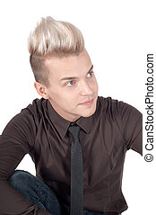 Portrait of blond man in dark shirt