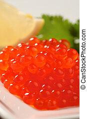 rojo, Salmón, caviar