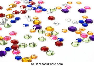 Colorful rhinestones - Close-up of multicolored rhinestones...