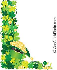 Four Leaf Clover Hat of Gold Border Illustration - St...
