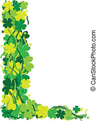 Four Leaf Clover Leaf Border Illustration - St Patricks Day...