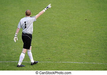 Soccer goalkeeper - soccer goalkeeper from behind in soccer...