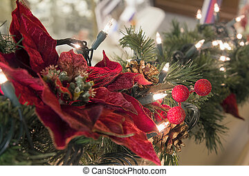 Christmas Garland with Poinsettia and Lights - Christmas...