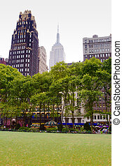 Bryant Park, New York - View of trees and buildings from...