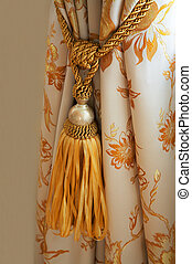 curtain with an ornament - White curtain with an ornament in...