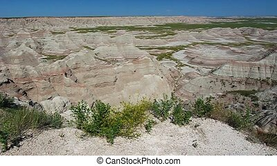 Badlands National Park - Rugged rock formations seen from...