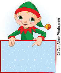 Christmas Elf Place Card - Christmas Elf Pointing Down To A...