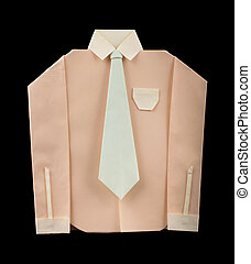 Isolated paper made pink shirt with white tie.Folded origami...