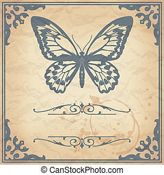 Butterfly on paper background vinta - Vector image of color...