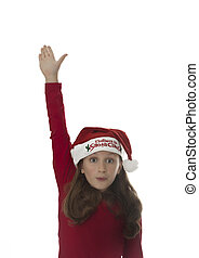 cute girl puts her hand up, xmas image
