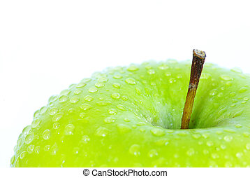green apple - fresh green apple with water drops