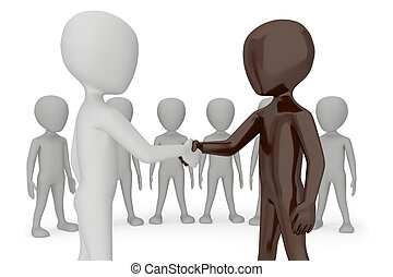 Two 3d humans give their hand for handshake.3d image. On a white background