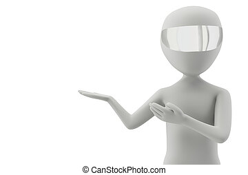 3d man shows or provides 3d image On a white background