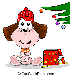 Cartoon dog and Christmas Gift - Cartoon dog happy with...