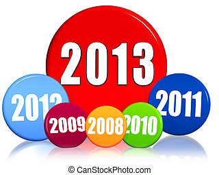 new year 2013 and previous years in colored circles - 3d...