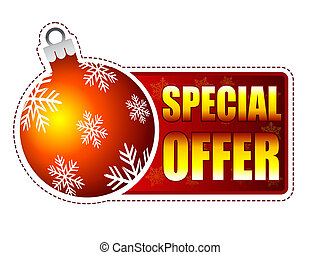 special offer label with christmas ball and snowflakes -...