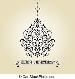 Vector Vintage Christmas Greeting Card with Fir Tree Ball -...