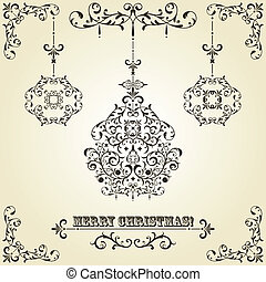 Vector Vintage Christmas Greeting Card with Fir Tree Balls -...